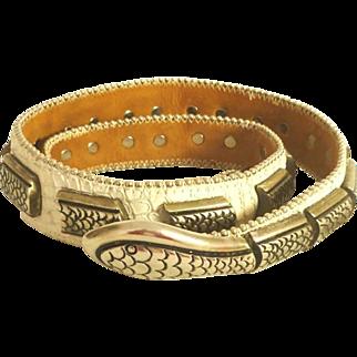 White Snake Skin and Silver Tone Metal Belt