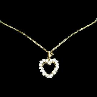 Diamond Heart Shaped Necklace 14 kt Gold