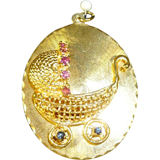 Baby Carriage Charm 14 kt. Gold Large