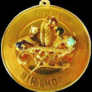 """14 kt Gold """"Happy Birthday"""" Charm"""