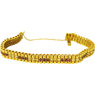 Ruby and Diamond 14 kt  Tennis Style Bracelet