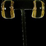 Christian Dior Rhinestone and Black Ceramic Earrings