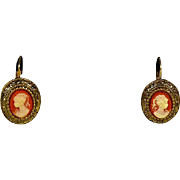 Cameo Earrings Gold Tone Pierced