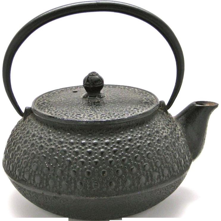 Vintage japanese tetsubin cast iron tea kettle from