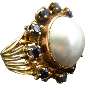 Vintage Retro Mabe Pearl & Sapphire 14K Yellow Gold/Rose Ring