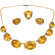 Antique Victorian Citrine Parure 14K Rose-Yellow Gold (Set of Necklace, Ring, Earrings)