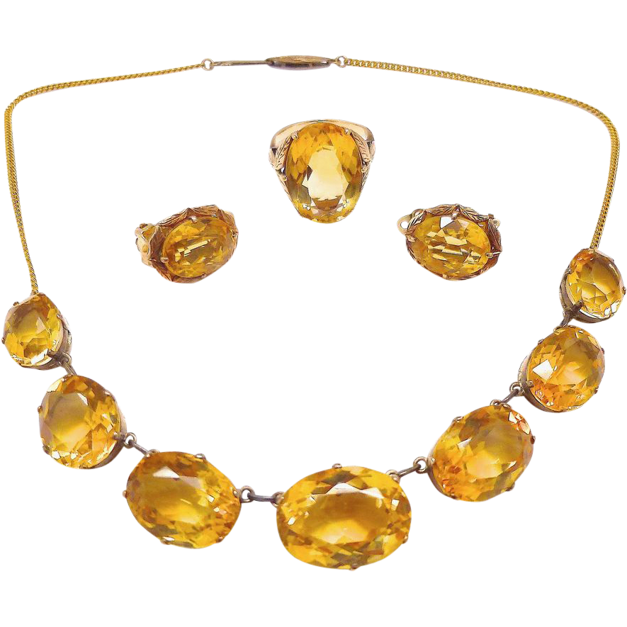 Antique Victorian Citrine Parure 14K Rose Yellow Gold Set of from