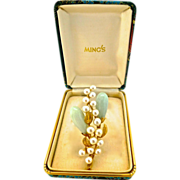 Vintage Ming's Hawaii, Signed, Jade & Pearl Brooch 14K Gold, Original Box