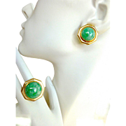 Retro Vintage Natural Jade Jadeite Set of Ring and Earrings in 14K Gold