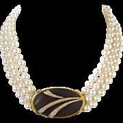 Triple Strand Akoya Cultured Pearl Choker Necklace & 1.50 Carat Diamond Mother of Pearl Pendant