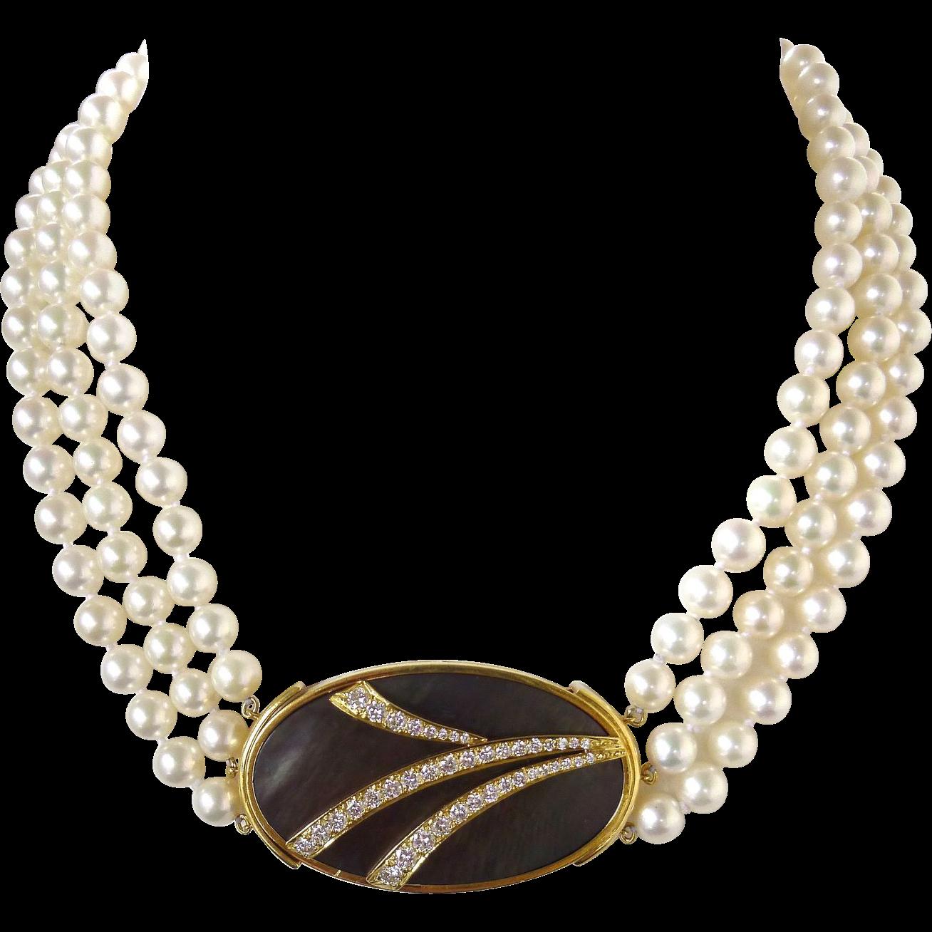 Triple Strand Akoya Cultured Pearl Choker Necklace & 150 Carat Diamond  Mother Of Pearl Pendant