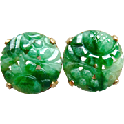 Art Deco Natural Jadeite Jade Carved Round Earrings 14K Gold