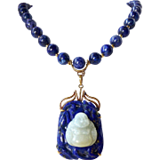 Vintage Chinese Lapis Lazuli Bead Necklace & Mutton Fat Jade Buddha 14K Gold