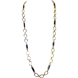 "Vintage 34"" Long 14K Gold Oval Link Chain & Onyx Necklace, 73 Grams"