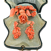 Antique French Victorian Carved Coral Earrings Brooch Set, 18K Gold, in Original Fitted Box