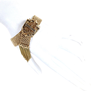 Antique Victorian 14K Gold Mesh Slide Tassel Bracelet Taille d' Epargne
