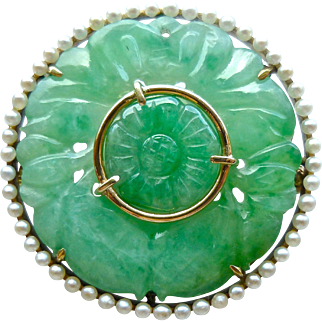 Antique Sloan & Co. 14K Gold & Natural Jadeite Jade Seed Pearl Circle Brooch