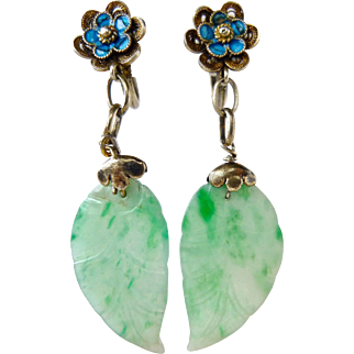 Antique Natural Jadeite Jade Leaf Cloisonne Enamel Silver Filagree Drop Dangle Earrings