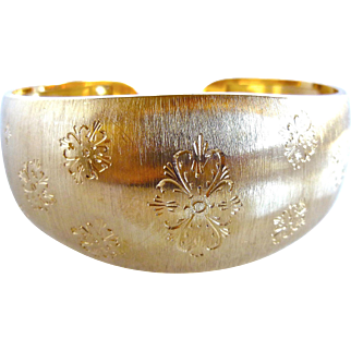 Vintage 18K Gold Wide Italian Brushed Florentine Finish Etched Cuff Bracelet