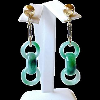Natural Jadeite Jade Interlocking Rings Links Drop Dangle 14K Gold Earrings