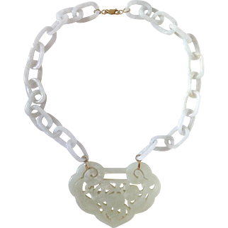 Chinese Carved Mutton Fat Nephrite Jade Pendant & White Jadeite Interlocking Rings Necklace