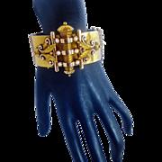 "Antique Victorian Ornate 14K Bicolor Gold Wide Heavy Bangle; 55.12 Grams; 1.5"" Wide"