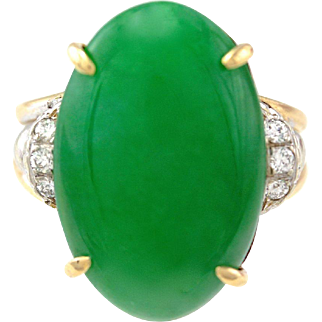 Art Deco Natural Large Jadeite Jade Cabochon Diamond 14K Gold Ring GIA Cert