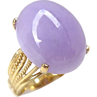 Natural Large Lavender Jadeite Jade 14K Gold Cocktail Ring