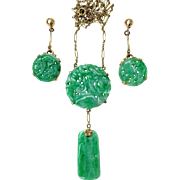 Set of Antique Qing Dynasty Natural Jadeite Jade 14k Gold Necklace Carved Pendant and Earrings