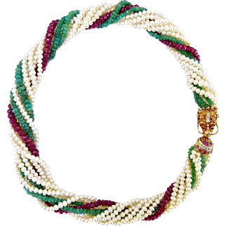 Dragon Head Rubies Diamonds 14K Gold Clasp Multi-strand Seed Pearls, Rubies, Emeralds Necklace