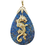 "Vintage Unisex Large Lapis Lazuli and14K Gold Chinese Dragon with Rubies Pendant, 2.5"" Long"