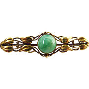 Antique Art Nouveau Natural Jadeite Jade 14K Gold Leaf Bar Pin
