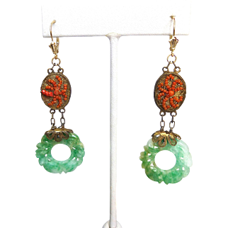 "Antique Carved Natural Jadeite Jade Pi Disc and Coral Dangling 3"" Long Earrings, 14K Gold & Gilt"