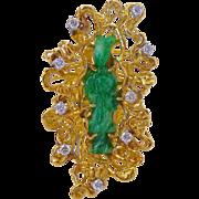 Vintage Large Unusual Natural Jadeite Jade Guanyin, Kwan Yin, or Quan Yin & Diamonds 18K Gold Freeform Ring, Size 5