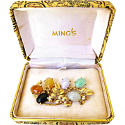 Ming's Hawaii Vintage Multi-Color Jadeite Jade Brooch in 14K Gold with Box