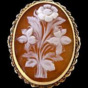 Vintage Cameo Ring 14K Gold Huge Sardonyx Shell Carved Floral Boquet