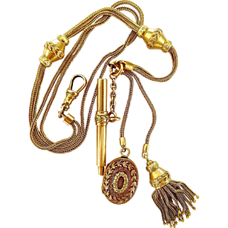 Rare 18K Tri-color Antique Victorian French Watch Fob Slide Chain w/ Locket, Tassel, Key