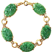 Antique Qing Dynasty & Art Deco Natural Carved Jadeite Jade Bracelet 14K Gold