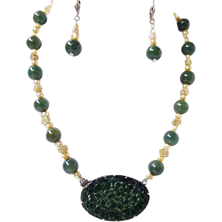 Antique Carved Natural Jadeite Jade Pendant & Seed Pearls Necklace & Earrings