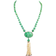 Antique Natural Carved Jadeite Jade Pendant Beads Necklace Tassel 14K Gold