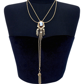 """14K Gold Victorian Revival Cameo Slide Tassel Double Chain Long """"Y"""" Lariat Necklace, 28"""" Long & 56 Grams"""