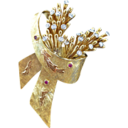 Vintage 18K Gold Diamond Ruby 'En Tremblant' Floral Spray & Bow Brooch, Made in Italy