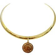 "14K Gold Italian OMEGA Necklace (16"" x 8.5 mm) & Iran Gold Coin Pendant, 44 Grams, with Appraisal"