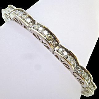 Vintage 3 Carats Diamonds 14K White Gold Curve Scalloped Link Tennis Style Bracelet