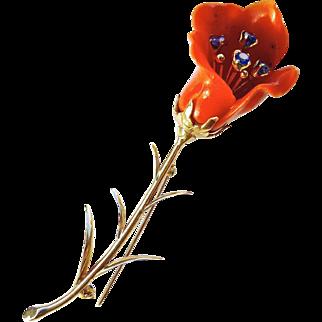 "Vintage Large Natural Coral & Sapphires Flower Brooch Pin 14K Gold, 3.5"" Long"