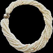 Vintage Italian Multi-Strand Angel Skin Coral Torsade Necklace