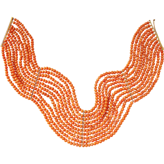 """Antique Victorian 18K Natural Coral Beads Choker Necklace 10 Strands, 13.5"""" x 2"""""""