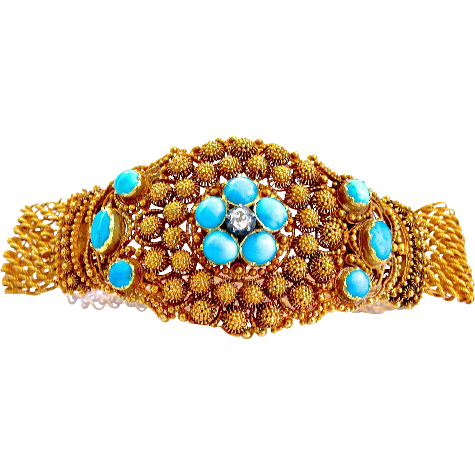 Antique Georgian 18K Gold Cannetille Persian Turquoise Forget-Me-Not Bracelet