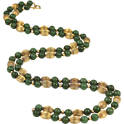 "Vintage Jade Beads & 14K Gold Beads & Chain Necklace, 31"" Long"