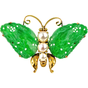 Certified Natural Green Jadeite Jade Art Deco Butterfly Brooch 14K Gold